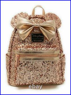 Disney & Loungefly Minnie Mouse Rose Gold Sequined Mini Backpack FACTORY SEALED