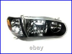 For 01 02 Toyota Corolla Headlights Black Housing Set Left Right With Corners