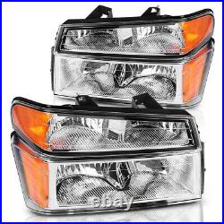 For 2004-2012 Chevy Colorado Pair Chrome Housing Amber Side Headlight/lamp Set