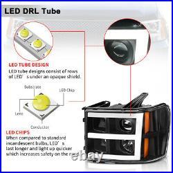 For 2007-2013 GMC Sierra 1500 2500/3500 HD Black/Amber LED DRL Headlights/Lamps