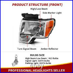 For 2009-2014 2013 Ford F-150 F150 Replacement Chrome Headlights Pair Left+Right