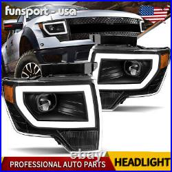For 2009-2014 Ford F-150 F150 Black LED Tube DRL Projector Headlights Headlamps