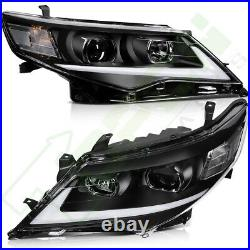 For 2012-2014 Toyota Camry Headlights Assembly Front Headlamp DRL LED Black Pair