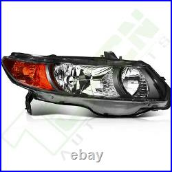 For Honda Civic Coupe 2Dr 2006-2011 Headlight Assembly Black Housing Left+Right