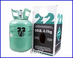 New R-22 Virgin Refrigerant FACTORY SEALED 10 LB. FREE SAME DAY SHIPING