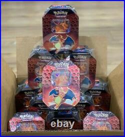 Pokemon TCG HIDDEN FATES CHARIZARD 12 Tins Case FACTORY SEALED 48 Packs